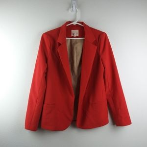 Silence+Noise Anthro Coral Open Front LS Blazer